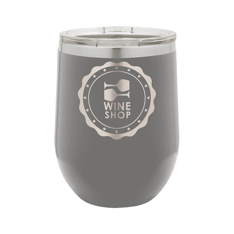 Dark Gray Stemless Wine Tumbler 12 oz