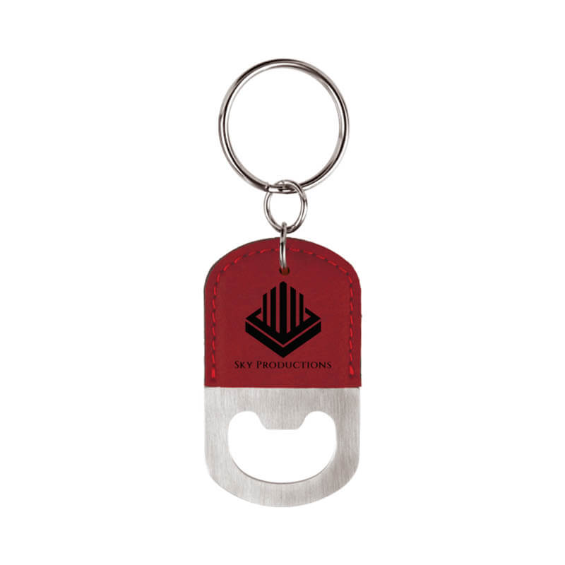 Oval Bottle Opener Key Chain - Rose and Black