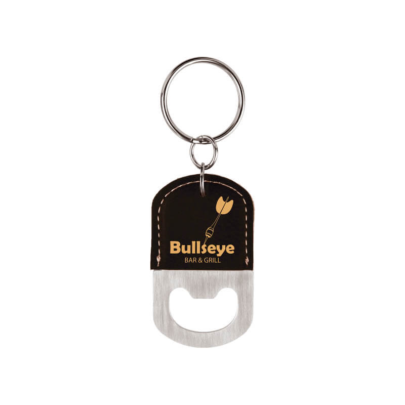 Oval Bottle Opener Key Chain - Black and Gold