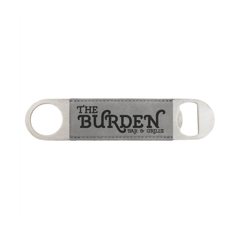 Gray and Black Leatherette Bottle Opener