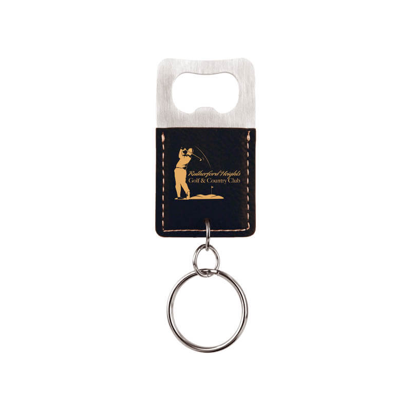 Rectangle Bottle Opener Key Chain - Black and Gold