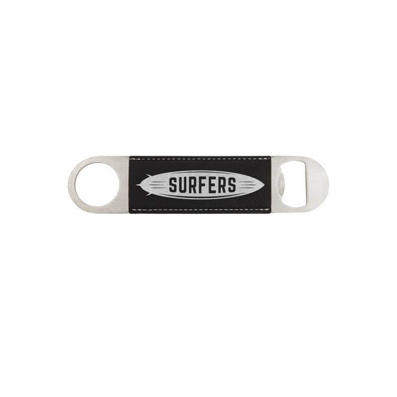 Black and Silver Leatherette Bottle Opener