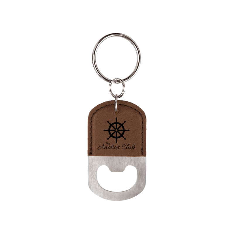 Oval Bottle Opener Key Chain - Brown and Black