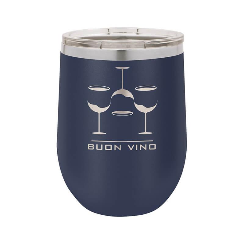 Navy Stemless Wine Tumbler 12 oz