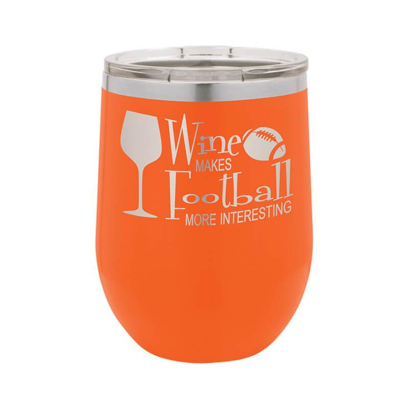 Orange Stemless Wine Tumbler 12 oz