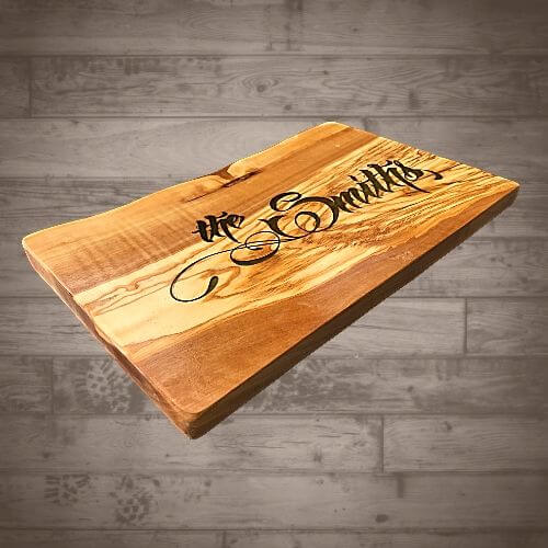 """12"""" x 8"""" Olive Wood Cutting Board - Engraved and Epoxy Filled"""