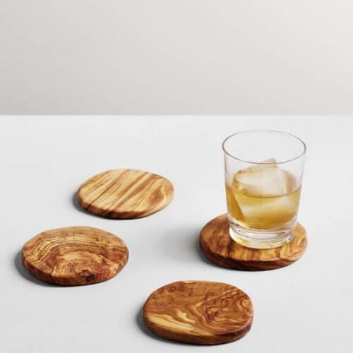 Engraved Olive Wood Coaster Set